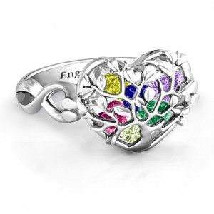 Personalised Family Tree Caged Hearts Ring with Infinity Band - Custom Made By Yaffie™