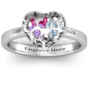 Personalised Heart Cutout Petite Caged Hearts Ring with Classic with Engravings Band - Custom Made By Yaffie™