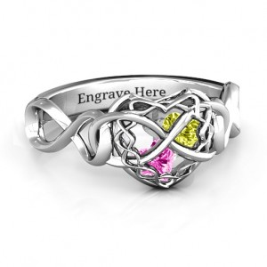 Personalised My Infinite Love Caged Hearts Ring - Custom Made By Yaffie™
