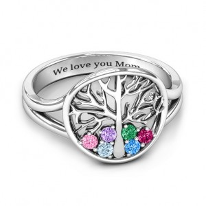 Personalised Always Around Love 6 Stone Family Tree Ring - Custom Made By Yaffie™