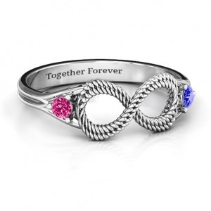 Personalised Braided Infinity Ring with Two Stones - Custom Made By Yaffie™