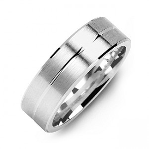 Personalised Brushed Men's Ring with Beveled Edges and Lined Centre - Custom Made By Yaffie™