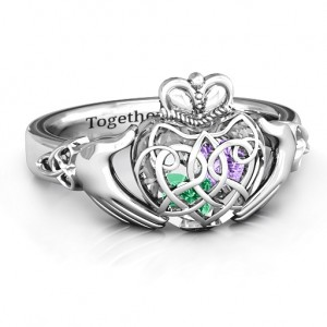 Personalised Caged Hearts Celtic Claddagh Ring - Custom Made By Yaffie™