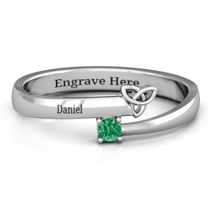 Personalised Celtic Solitaire Bypass Ring - Custom Made By Yaffie™