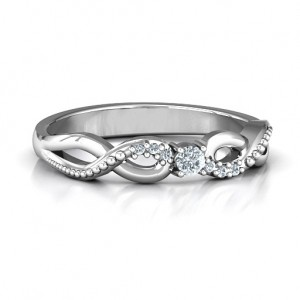 Personalised Classic Solitare Sparkle Ring with Accented Infinity Band - Custom Made By Yaffie™