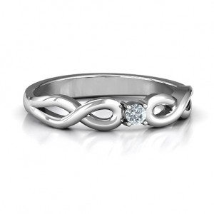 Personalised Classic Solitare Sparkle Ring with Infinity Band - Custom Made By Yaffie™