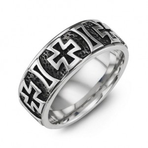 Personalised Cross Pattern Cobalt Ring - Custom Made By Yaffie™