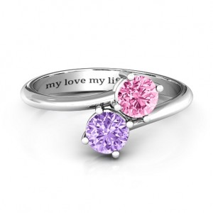 Personalised Destined For Love Double Gemstone Ring - Custom Made By Yaffie™