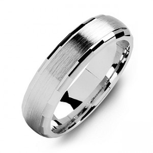 Personalised DomeShaped Brushed Men's Ring with Baguette Edges - Custom Made By Yaffie™