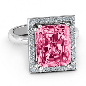 Personalised Emerald Cut Statement Ring with Halo - Custom Made By Yaffie™
