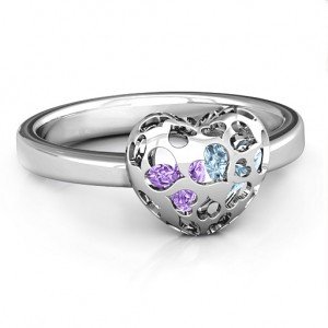 Personalised Encased in Love Petite Caged Hearts Ring with Infinity Band - Custom Made By Yaffie™