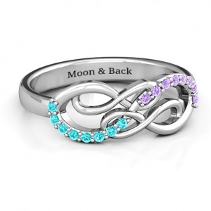 Personalised Everlasting Infinity Ring with Gemstones - Custom Made By Yaffie™