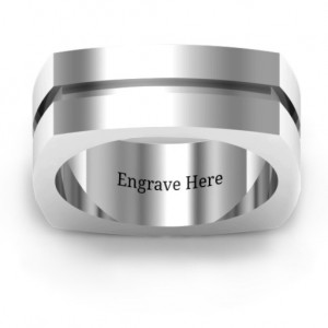 Personalised Fissure Grooved Squareshaped Men's Ring - Custom Made By Yaffie™