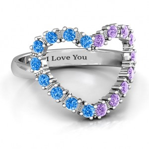 Personalised Floating Heart with Stones Ring - Custom Made By Yaffie™