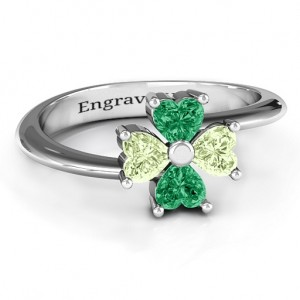 Personalised Four Heart Clover Ring - Custom Made By Yaffie™
