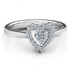 Personalised Heart in Heart Halo Ring - Custom Made By Yaffie™