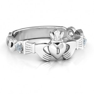 Personalised Infinity Claddagh With Side Stones Ring - Custom Made By Yaffie™