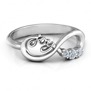 Personalised Joy Infinity Ring with 3 Stones - Custom Made By Yaffie™