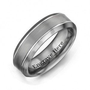 Personalised Men's Beveled Edge Brushed Centre Tungsten Ring - Custom Made By Yaffie™