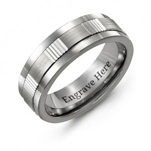 Personalised Men's Brushed Ribbed Tungsten Band Ring - Custom Made By Yaffie™