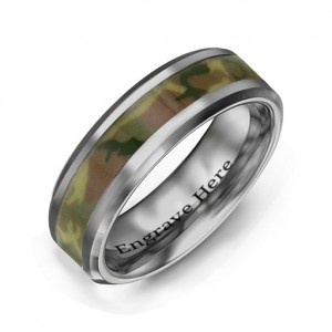 Personalised Men's Camouflage Tungsten Ring - Custom Made By Yaffie™