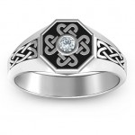 Personalised Men's Celtic Knot Signet Ring - Custom Made By Yaffie™