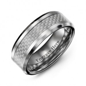 Personalised Men's Clear Carbon Fiber Inlay Polished Tungsten Ring - Custom Made By Yaffie™