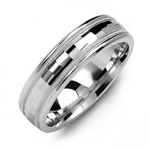 Personalised Milgrain Men's Ring with BaguetteCut Centre - Custom Made By Yaffie™