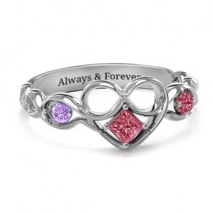 Personalised Shimmering Infinity Princess Stone Heart Ring - Custom Made By Yaffie™