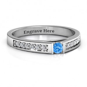 Personalised Solitaire Bridge Ring with Shoulder Accents - Custom Made By Yaffie™