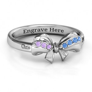 Personalised Fancy Stone Set Bow Ring - Custom Made By Yaffie™