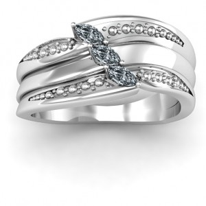 Personalised Shimmering TripleMarquise Ring - Custom Made By Yaffie™