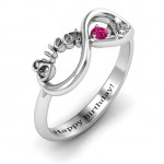 Personalised Sweet 16 with Birthstone Infinity Ring - Custom Made By Yaffie™