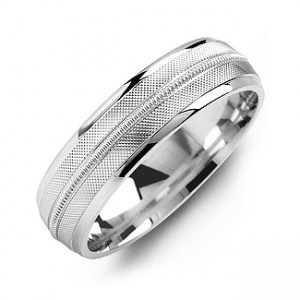 Personalised Textured Men's Ring with Centre Milgrain Detail - Custom Made By Yaffie™