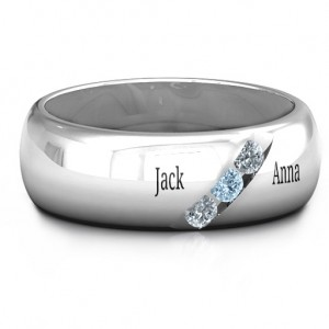 Personalised Triple Stone Grooved Men's Ring - Custom Made By Yaffie™