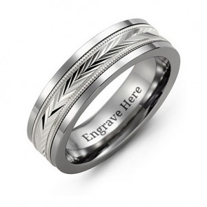 Personalised Tungsten Men's Tungsten Diamond Cut Inlay Band Ring - Custom Made By Yaffie™