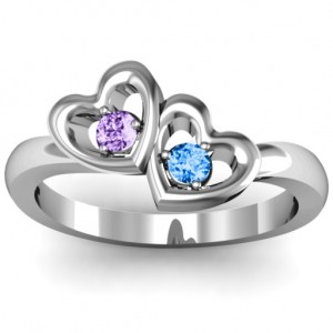 Personalised Twin Hearts Ring - Custom Made By Yaffie™