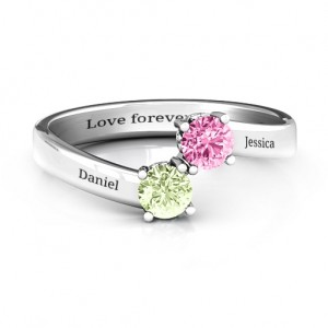 Personalised Two Stone Ring With Filigree Settings - Custom Made By Yaffie™
