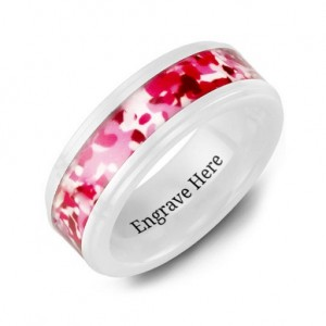 Personalised White Ceramic Ring with Colorful Camouflage Centrepiece - Custom Made By Yaffie™