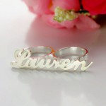 Personalised Allegro Two Finger Name Ring - Custom Made By Yaffie™