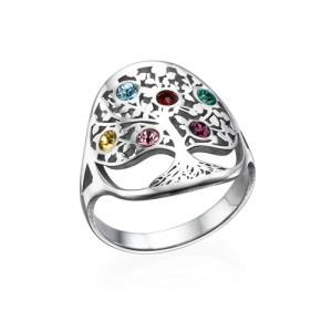 Personalised Family Tree Jewellery Birthstone Ring - Custom Made By Yaffie™