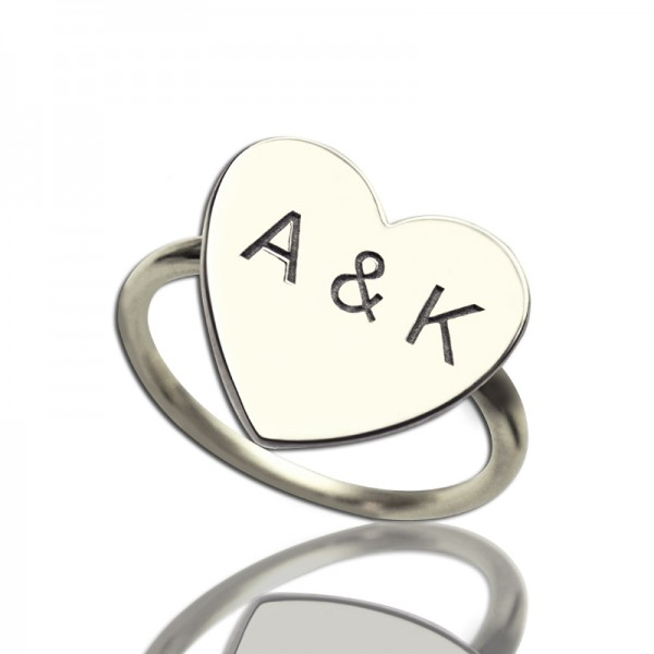 Personalised Engraved Sweetheart Ring with Double Initials - Custom Made By Yaffie™