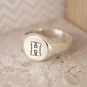 Personalised Round Initial Signet Ring - Custom Made By Yaffie™